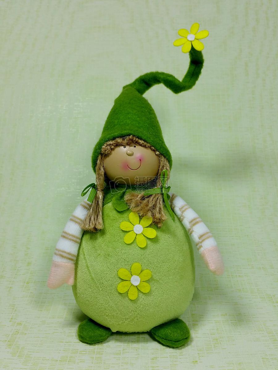 小鬼春天绿色滑稽可爱布偶娃娃玩具可爱的