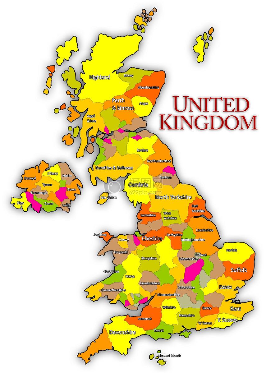 白色背景下的英国地图