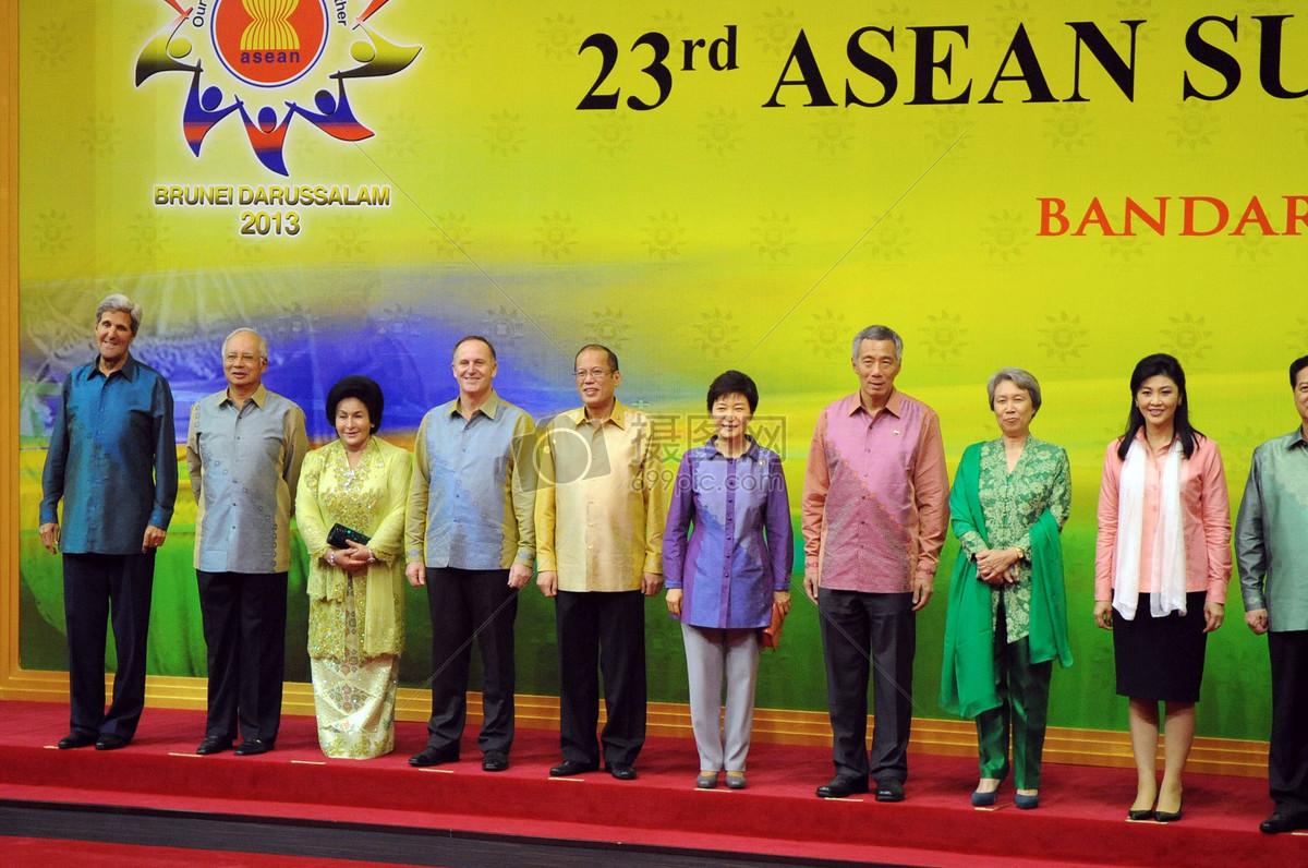 秘书克里姿势与东盟各国领导人