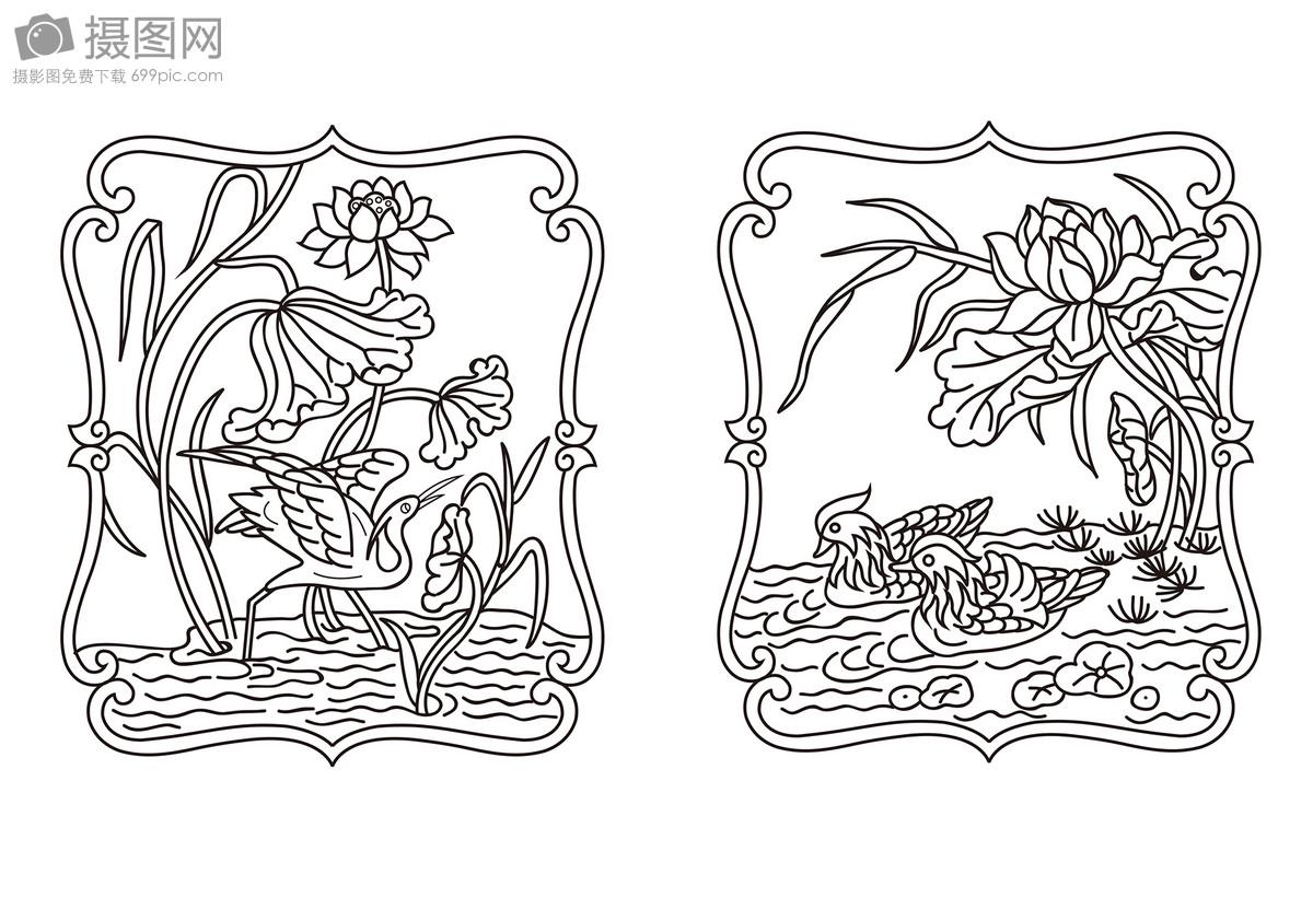标签: 边框图案芦苇线条隔断纹样雕刻素材黑白鸳鸯矢量白鹭传统图案
