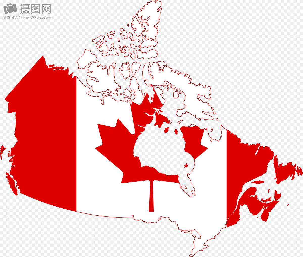 地图形的加拿大国旗