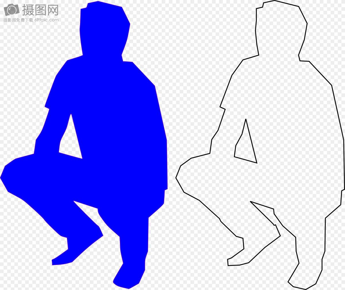 唯美图片 人物情感 蹲着的蓝色男人和线框男人svg