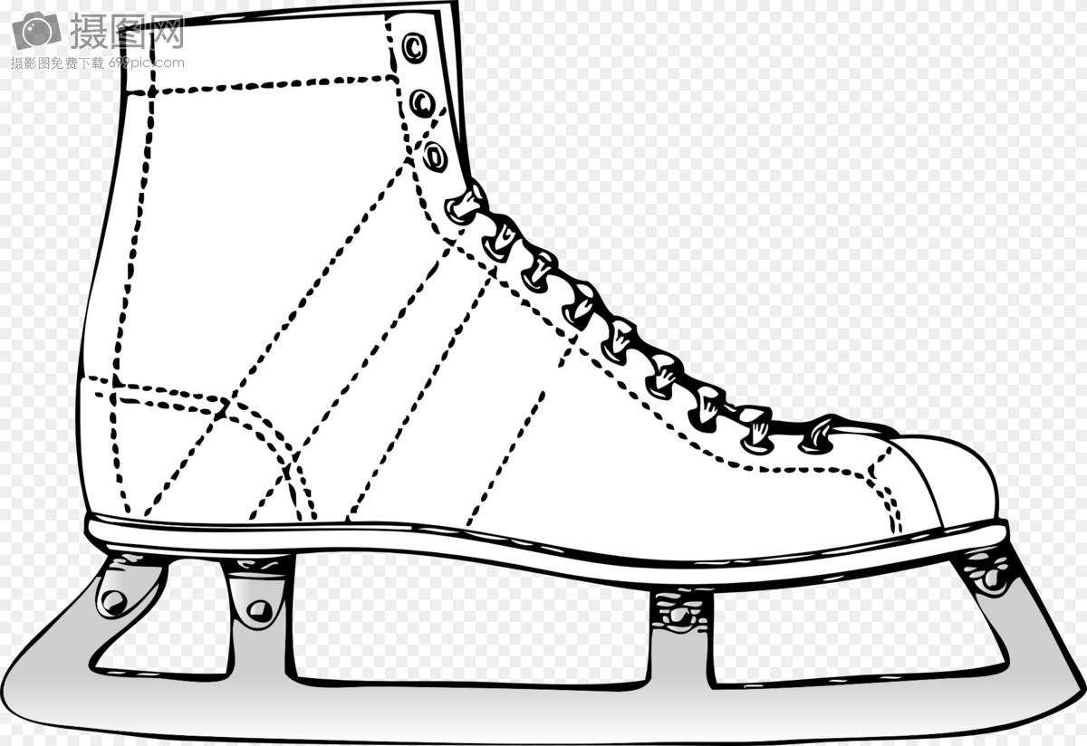 涂鸦滑冰鞋卡通画矢量图