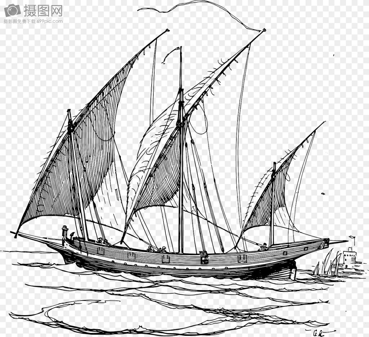 帆船手绘图