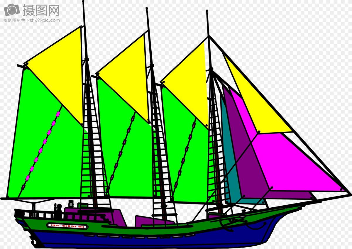 海上彩色帆船