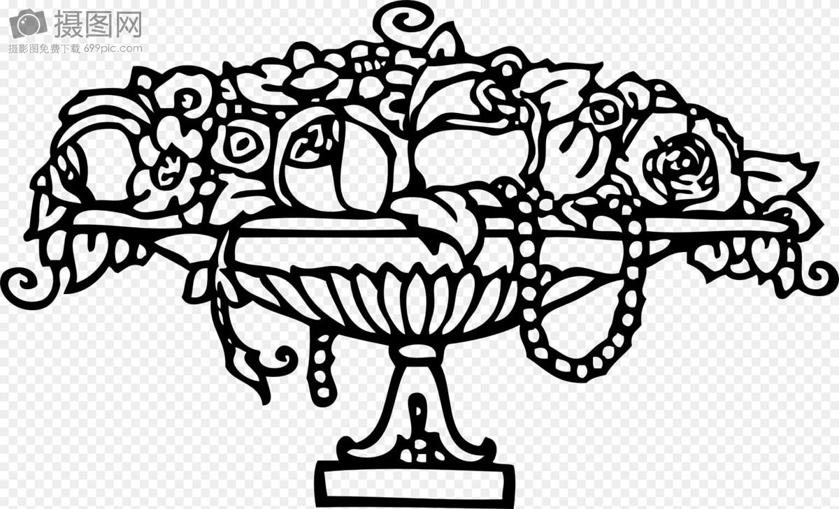景观花坛手绘线稿