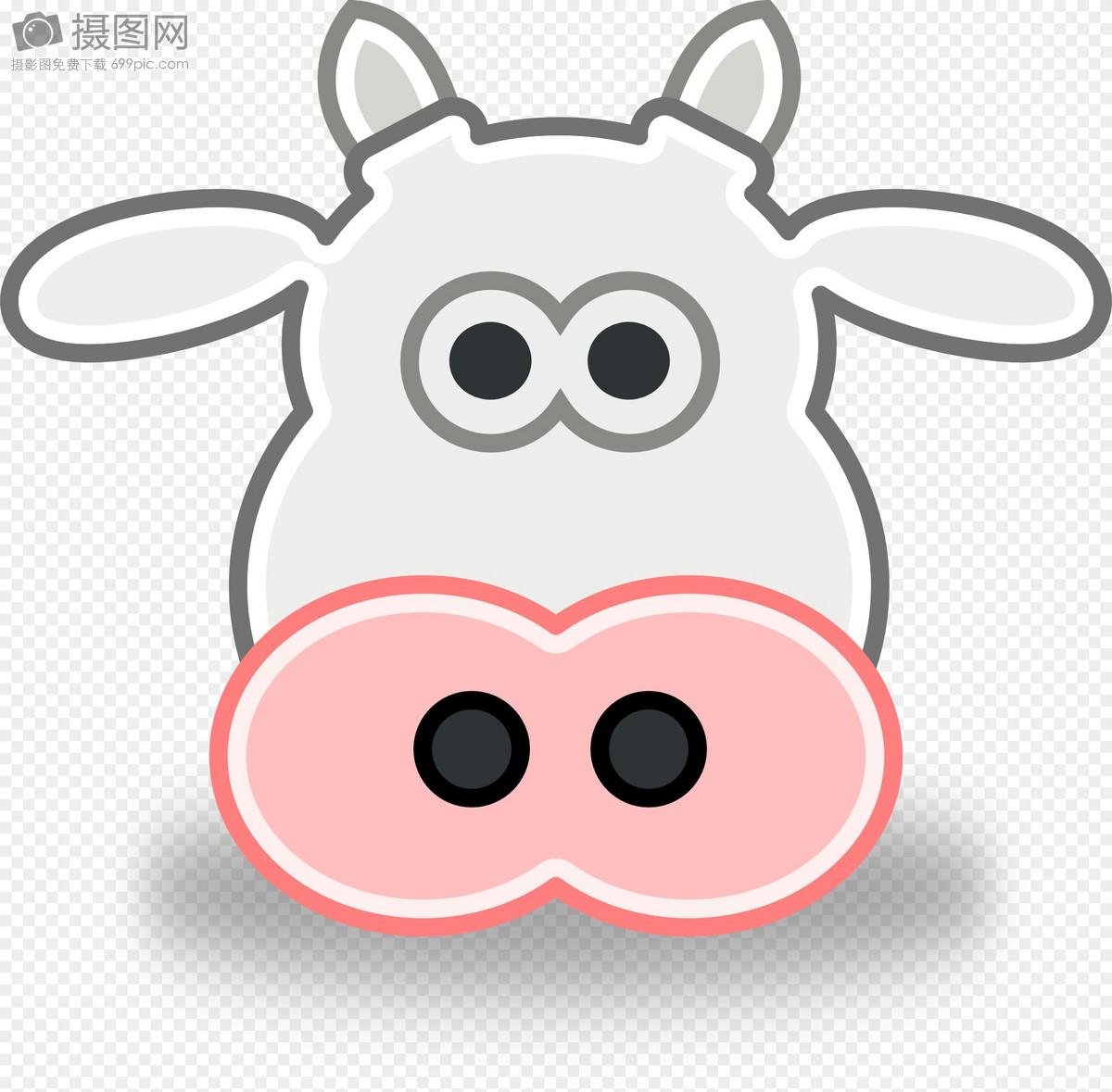 卡通可爱牛头像矢量图