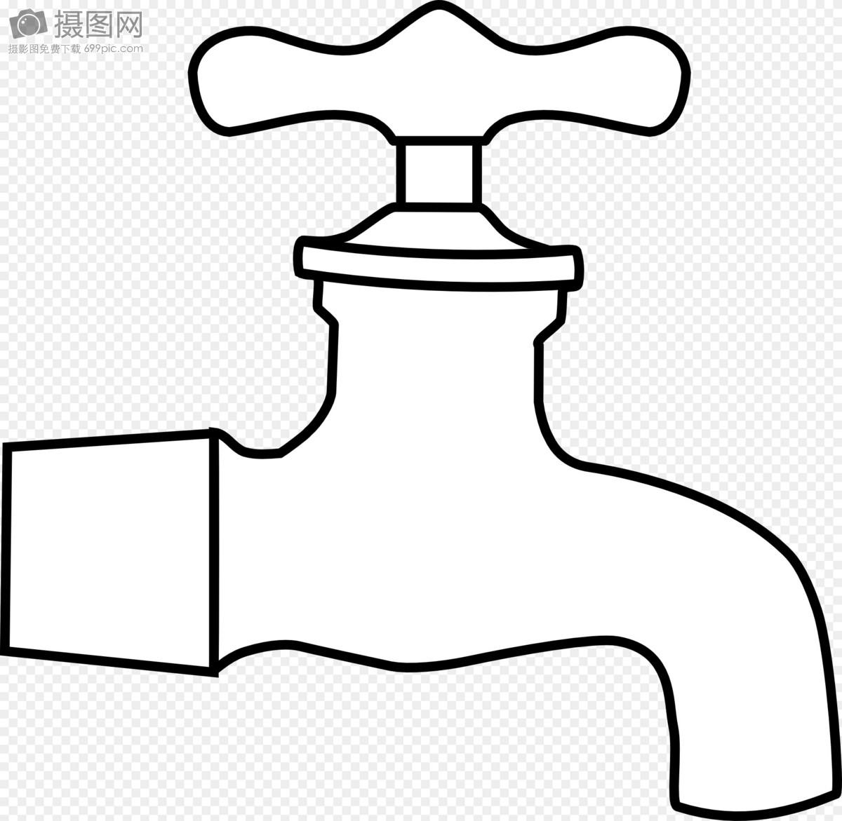 手绘自来水水龙头矢量图
