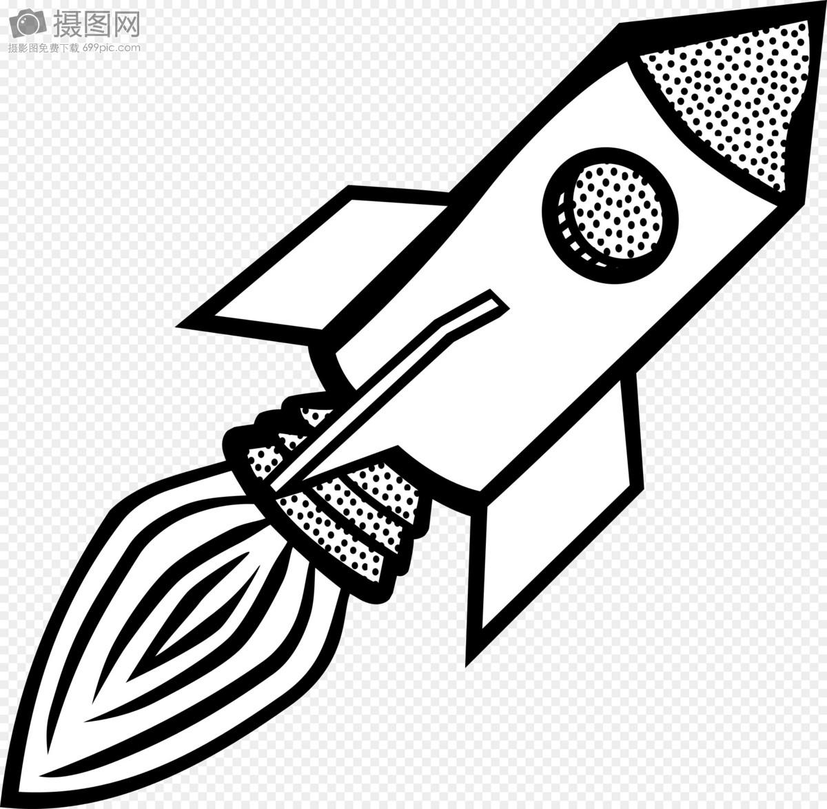 火箭浣熊黑白手绘