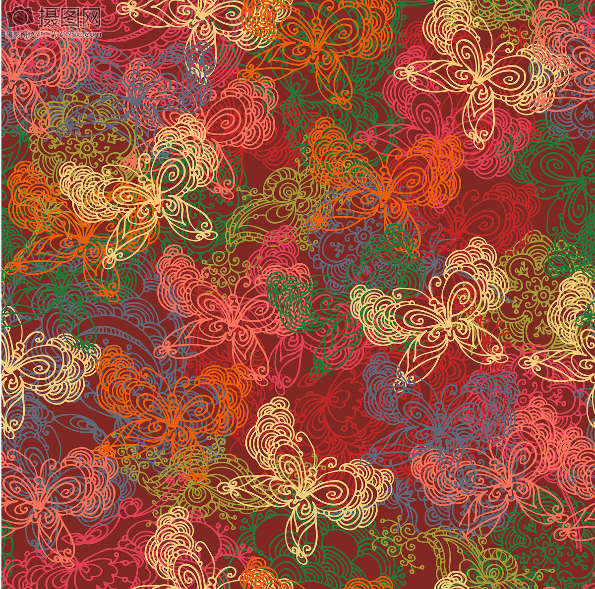 简约圣诞花纹海报背景春节国外炫彩几何科技唯美花朵背景图片国外炫彩