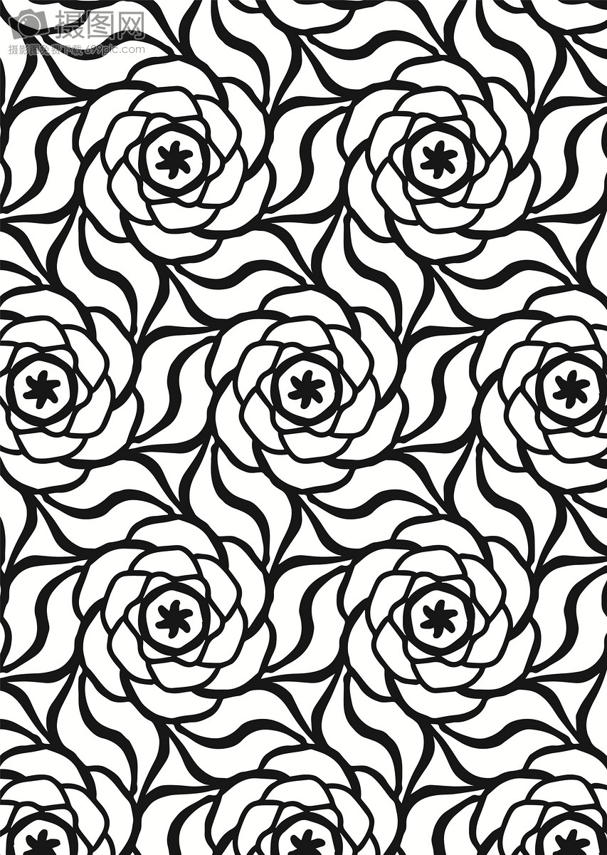 国外黑白矢量花朵四方连续底纹背景图片素材_免费下载