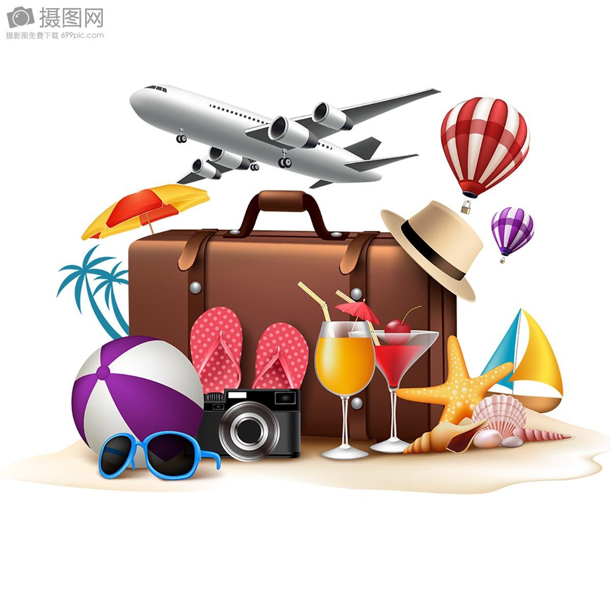 旅游海报手绘卡通行李箱素材