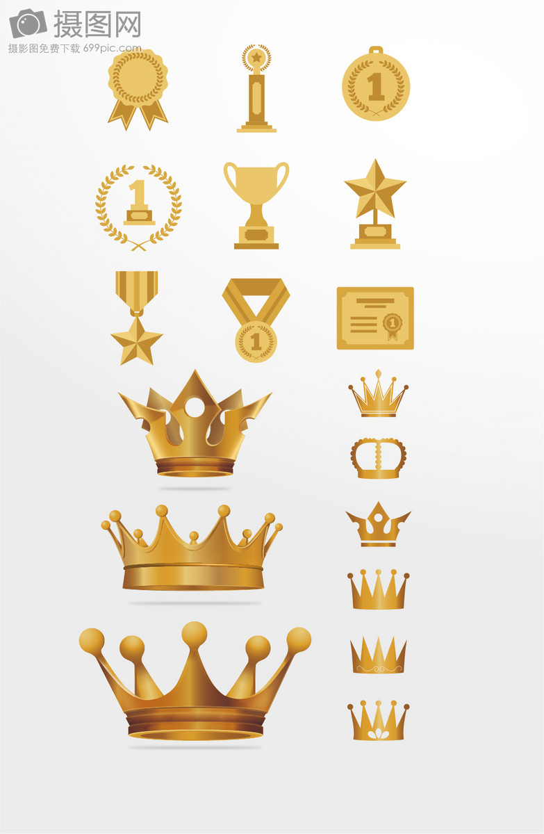 颁奖金色皇冠麦穗光环矢量图素材