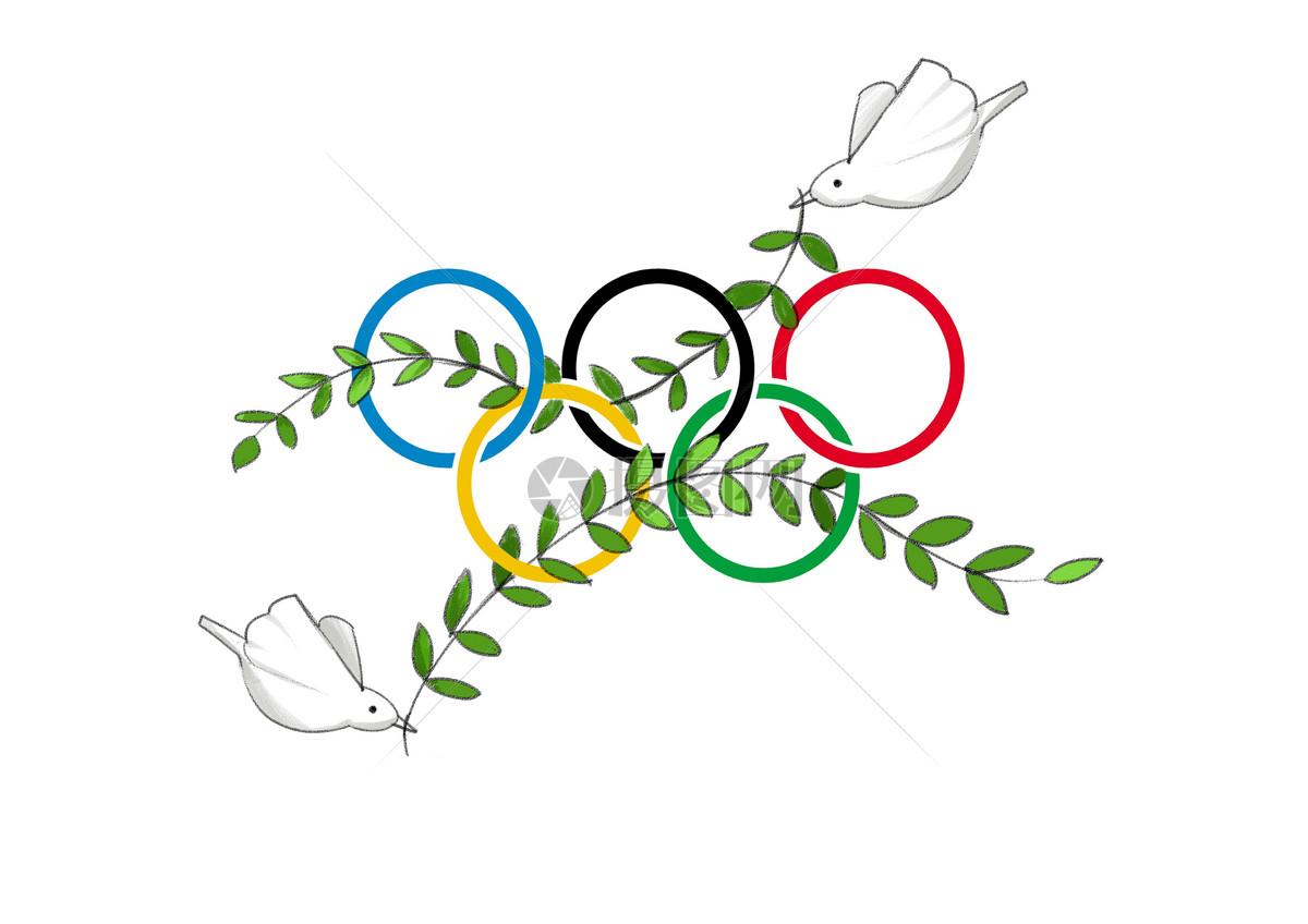 标签: 橄榄枝比赛运动插画手绘和平鸽奥运五环和平鸽口弦橄榄枝传递