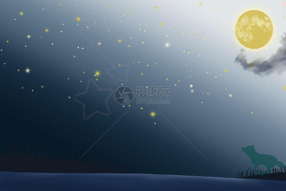 星空景色高清图片动物剪影剪影夜晚夜景影子天空创意唯美的星空景色