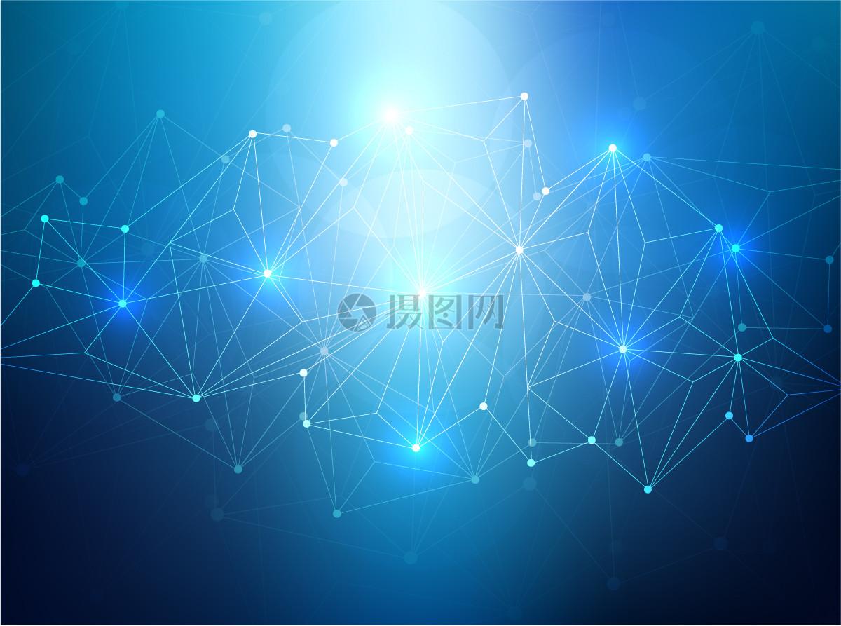 科技感蓝色星空点线素材