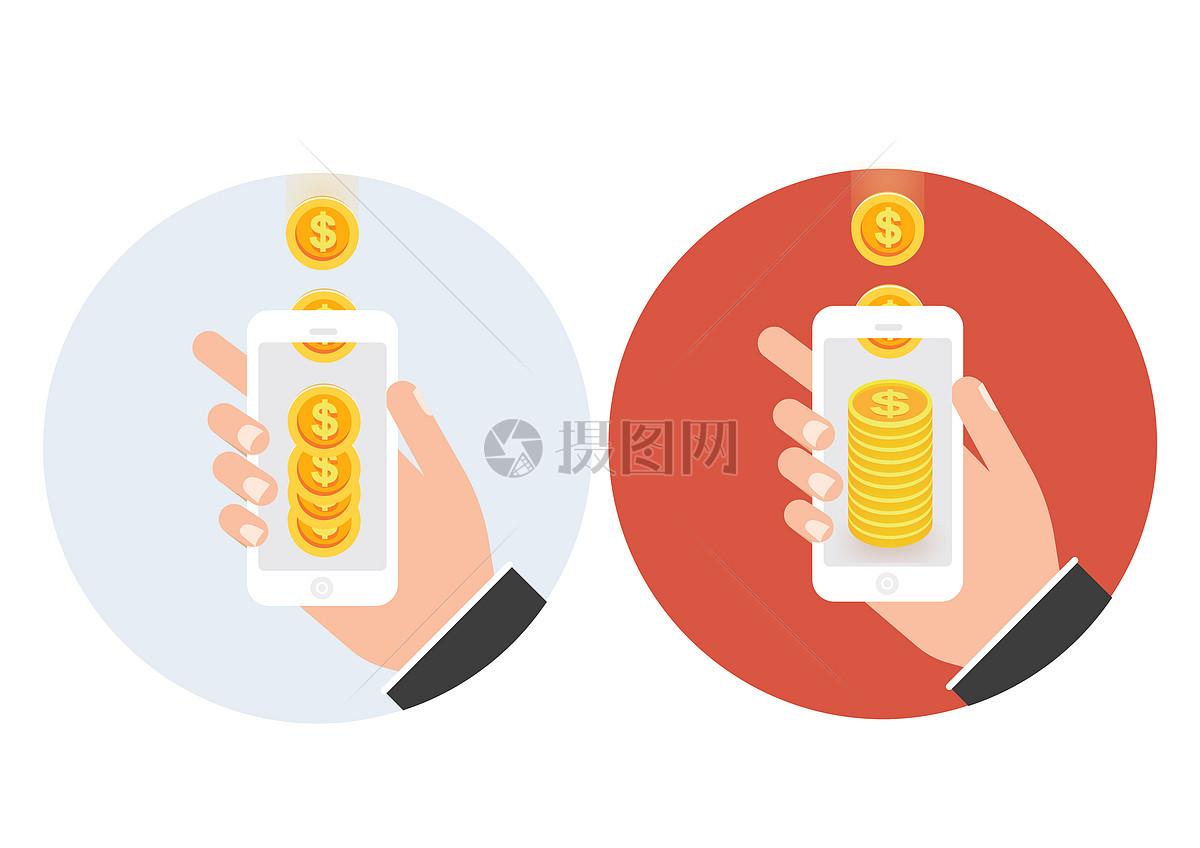 手拿手机摇金币图片素材_免费下载_ai图片格式_vrf_摄
