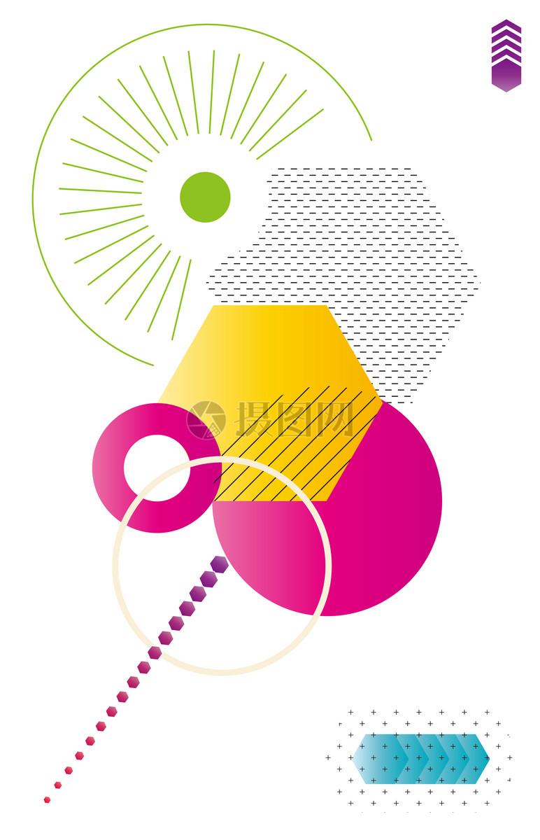 几何图形圆圈扁平形状元素抽象艺术元素组合背景图片抽象艺术元素组合