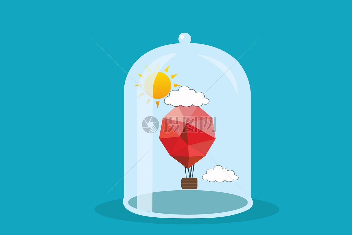 手绘玻璃罩与热气球图片素材_免费下载_psd图片格式