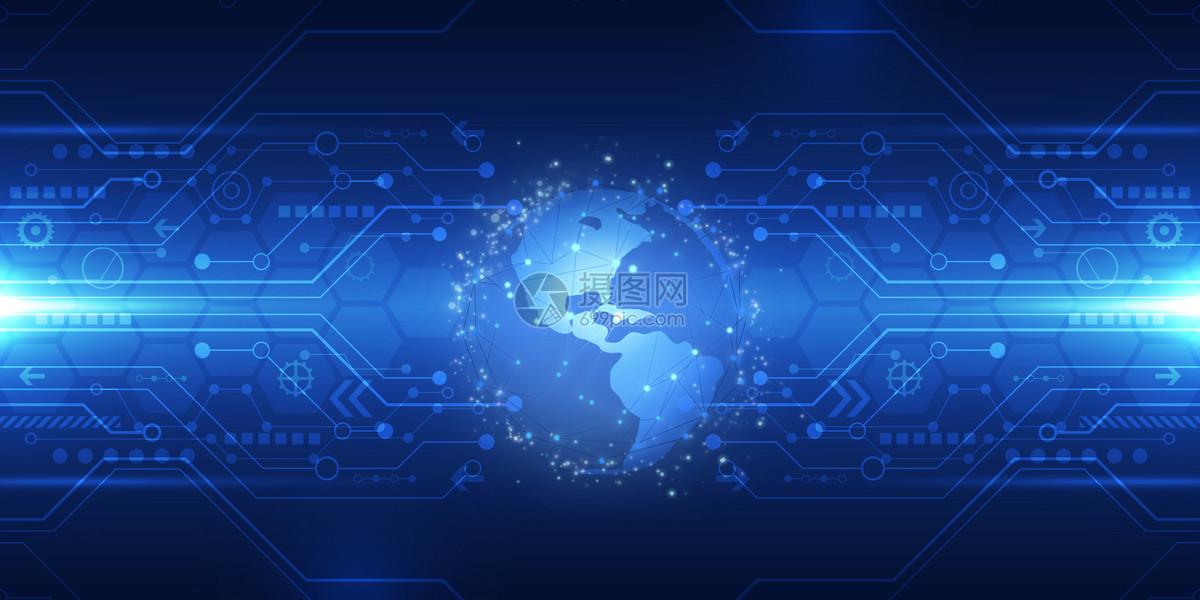 科技地球线条信息技术蓝色背景
