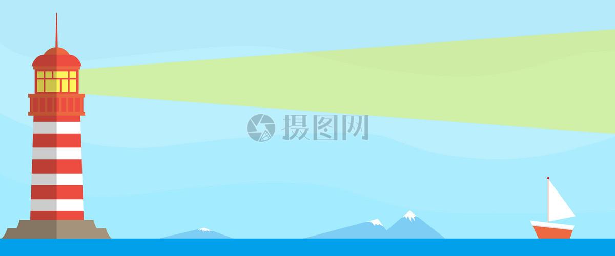 海面灯塔矢量图