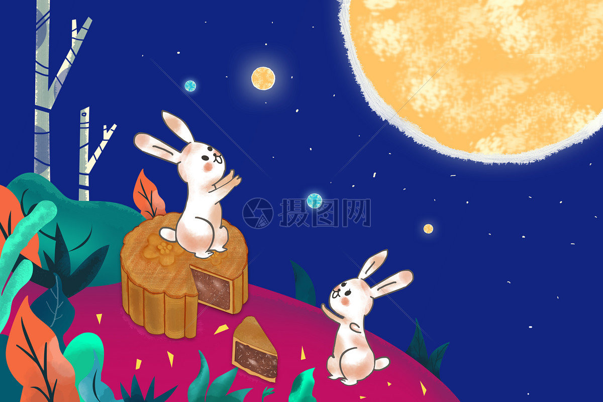 中秋节玉兔望月海报