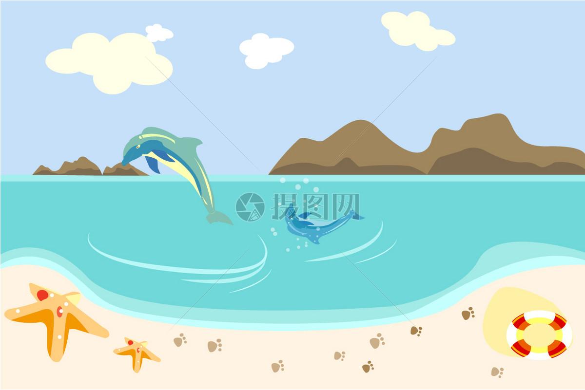 宁静海边大海豚小海豚游泳玩耍