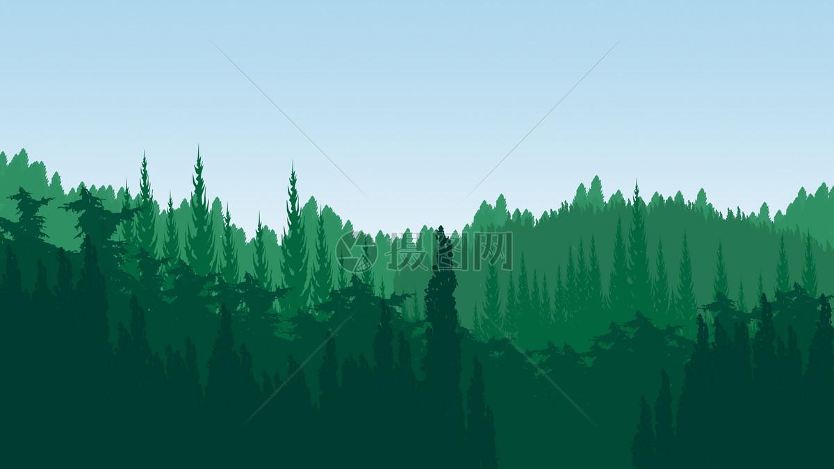 绿色森林背景手绘
