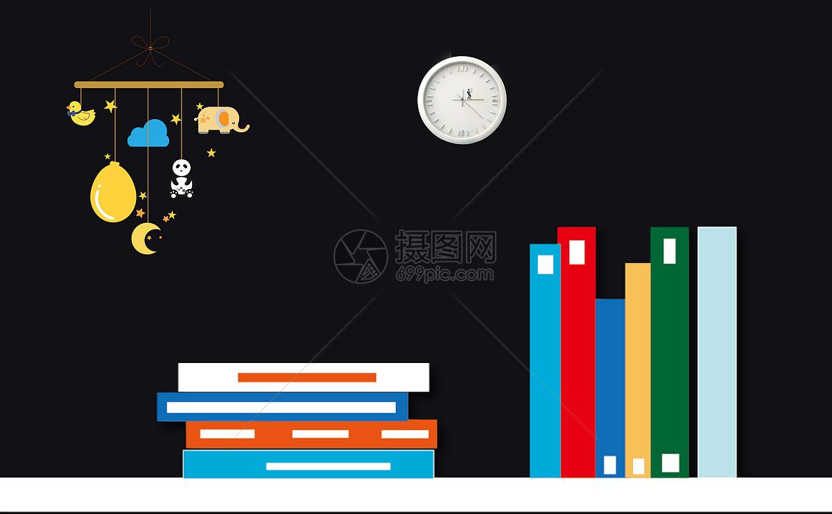 书与纸飞机黑板背景图