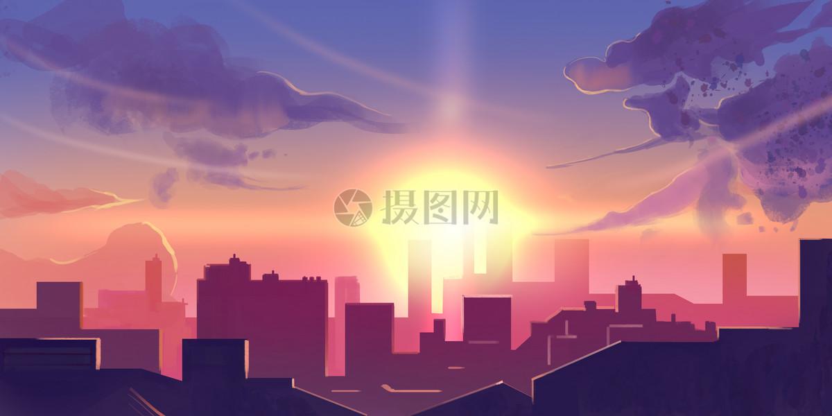 城市夕阳漫画插画图片素材_免费下载_psd图片格式_vrf