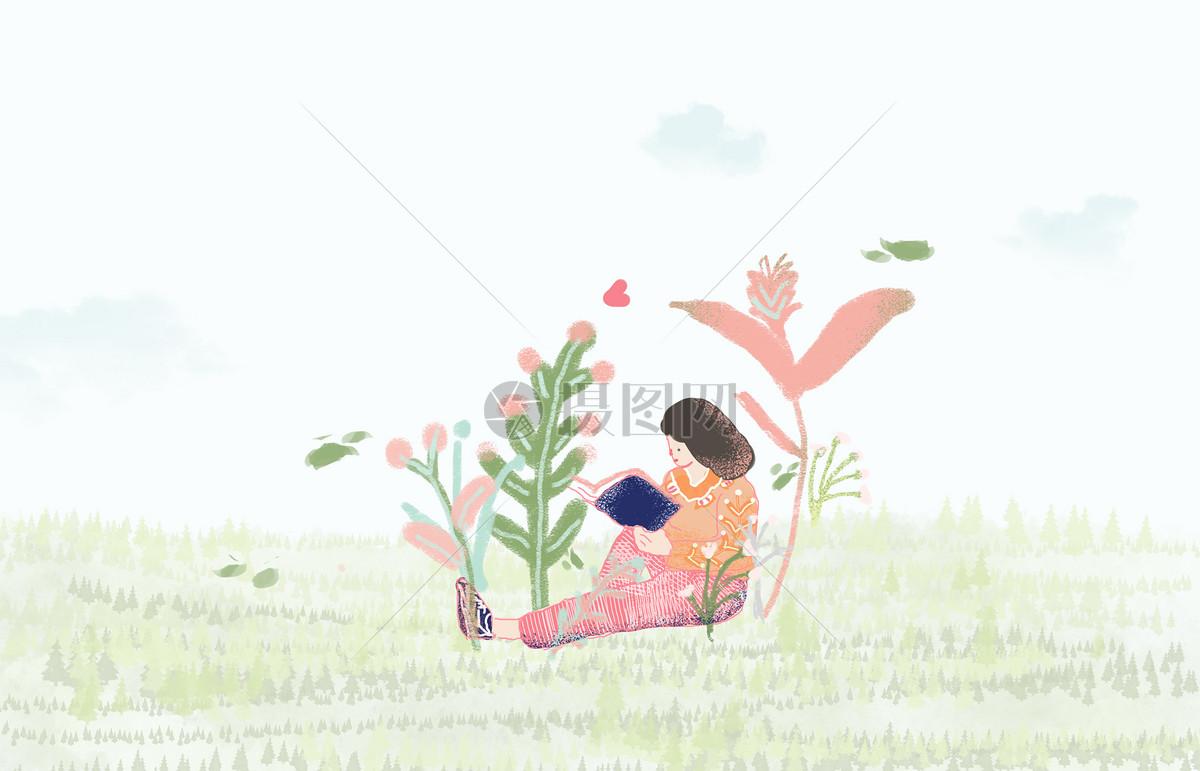 手绘小清新插画在看书的女孩