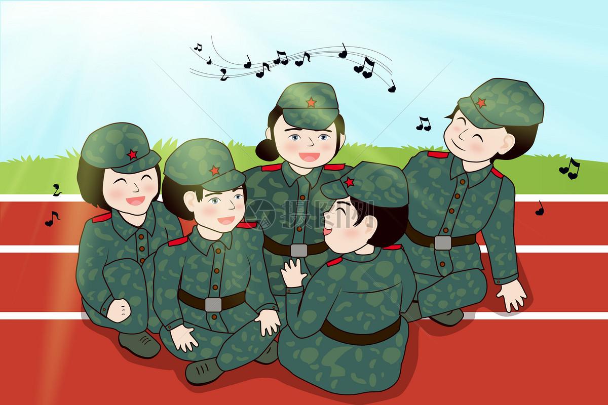軍訓的圖片卡通