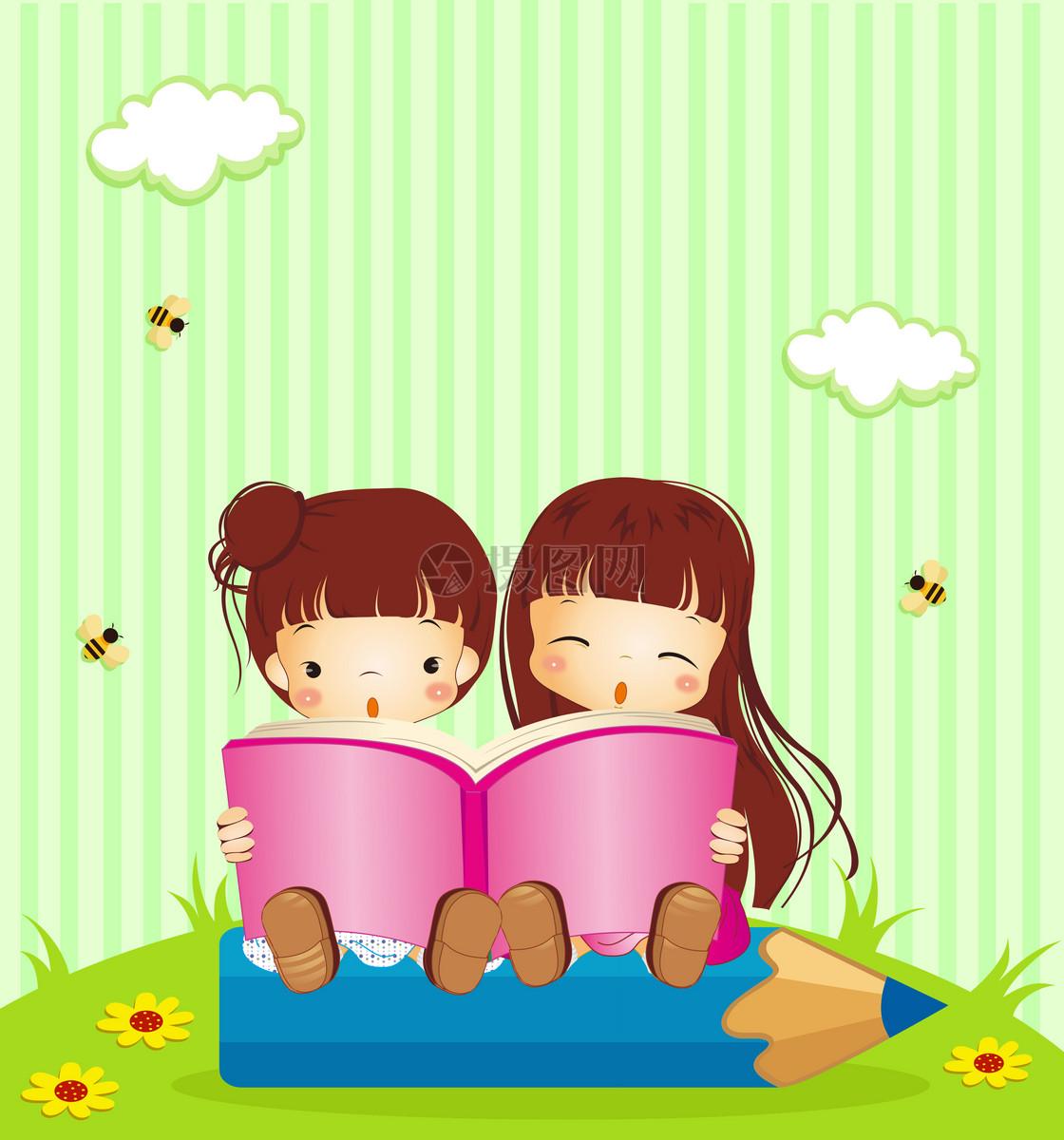 看书可爱cc猫简笔画