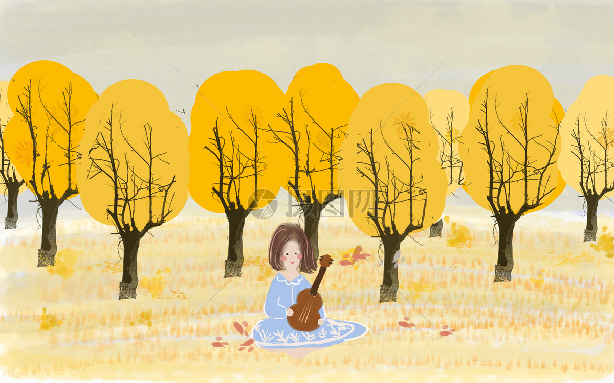 手绘秋季女孩户外弹吉他插图