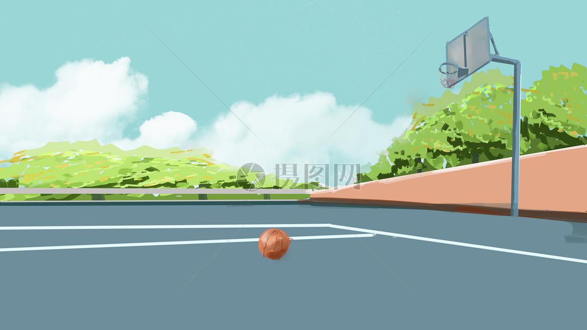 手绘放学后的校园篮球场图片