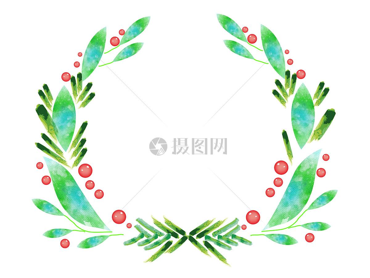 手绘水彩叶子装饰花环
