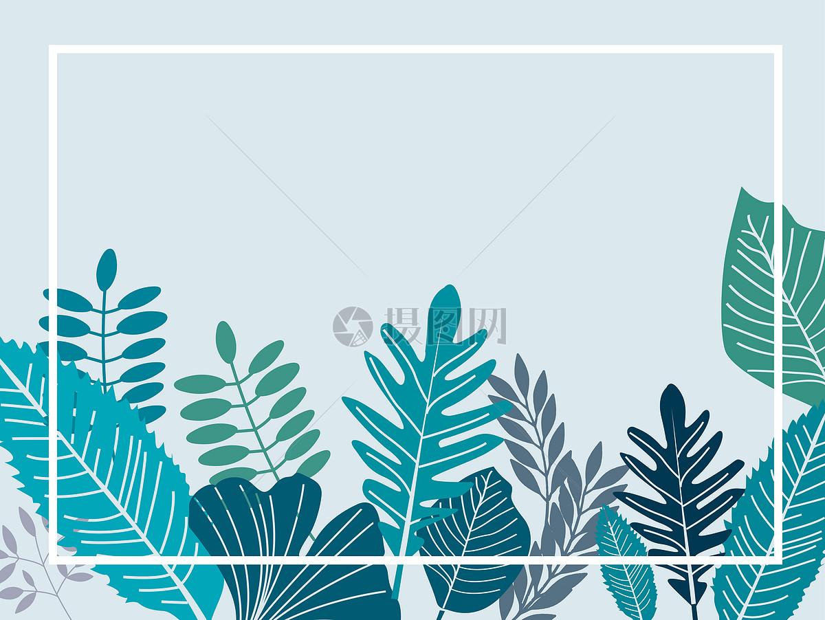 手绘绿色叶子装饰框