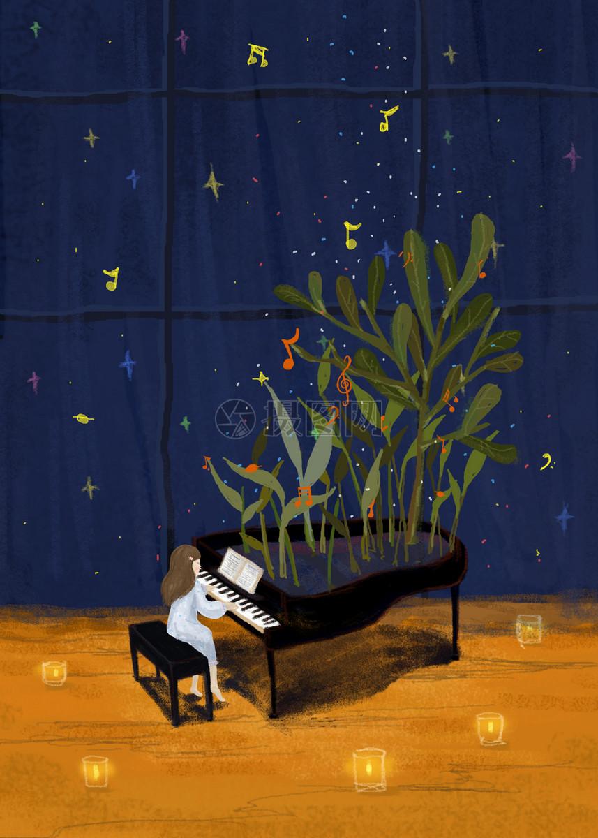 在弹钢琴的女生