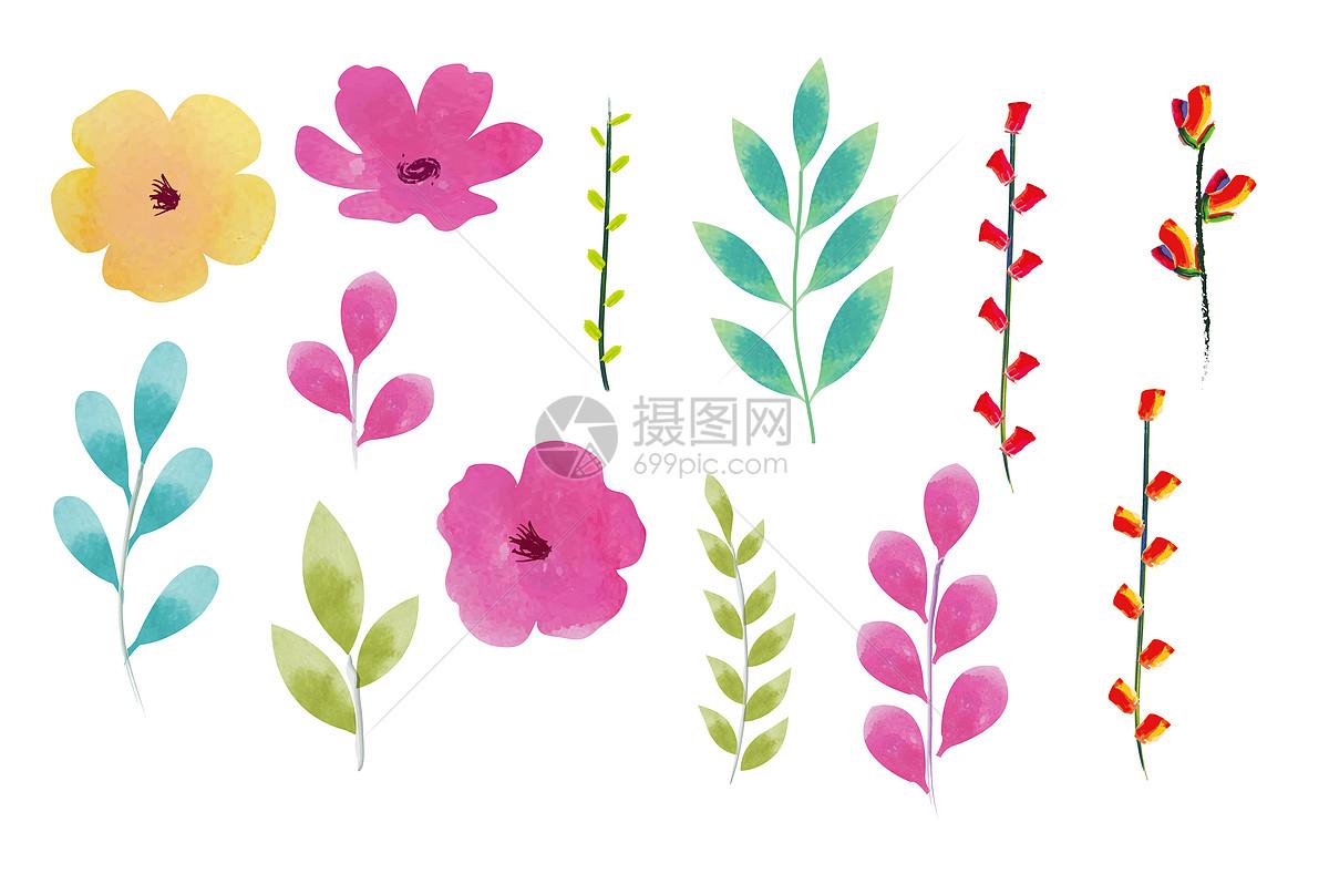 手绘水彩叶子花朵装饰