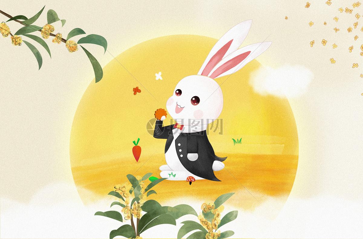 中秋节手绘兔子吃月饼赏桂花