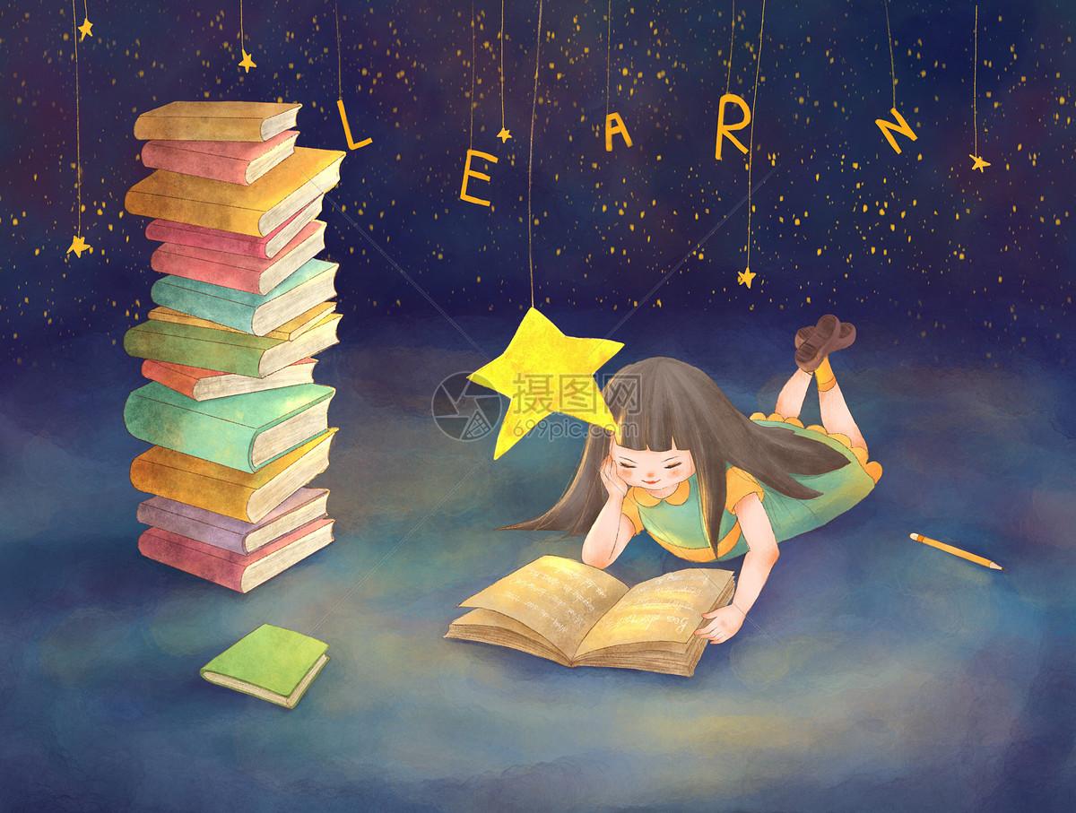 读书女孩插画图片