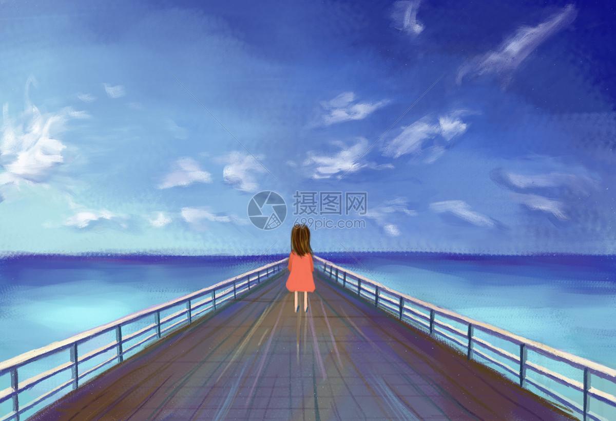 大海风景手绘