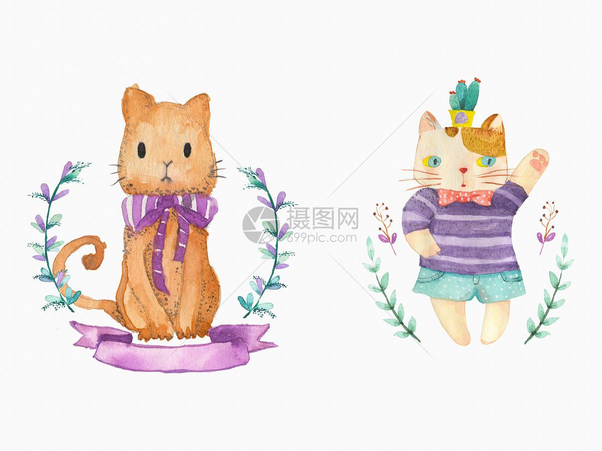 手绘水彩猫咪图片