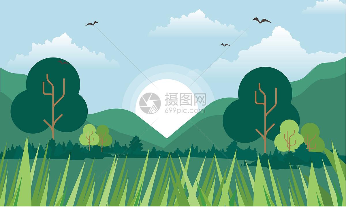 绿色植被插画背景图片素材_免费下载_ai图片格式_vrf