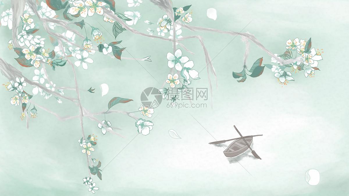 手绘中国风水墨梨花
