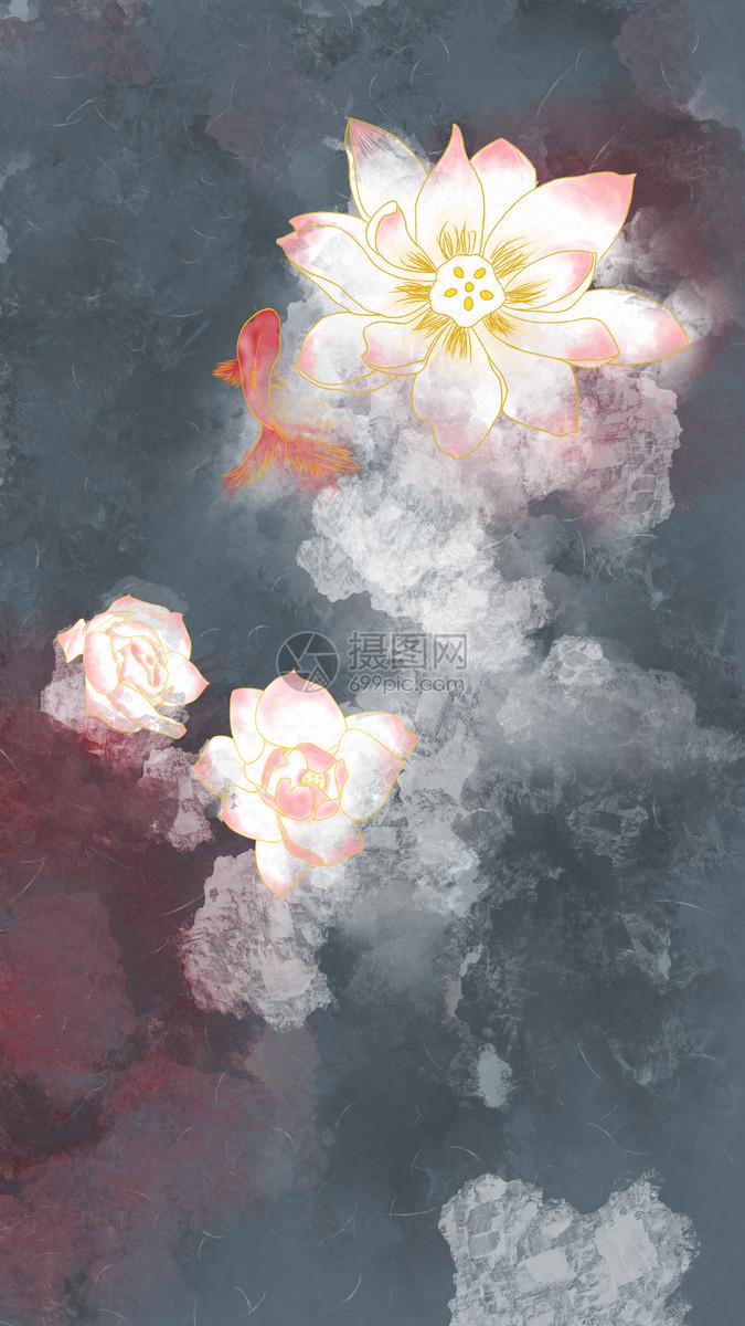 中国风手绘金鱼荷花