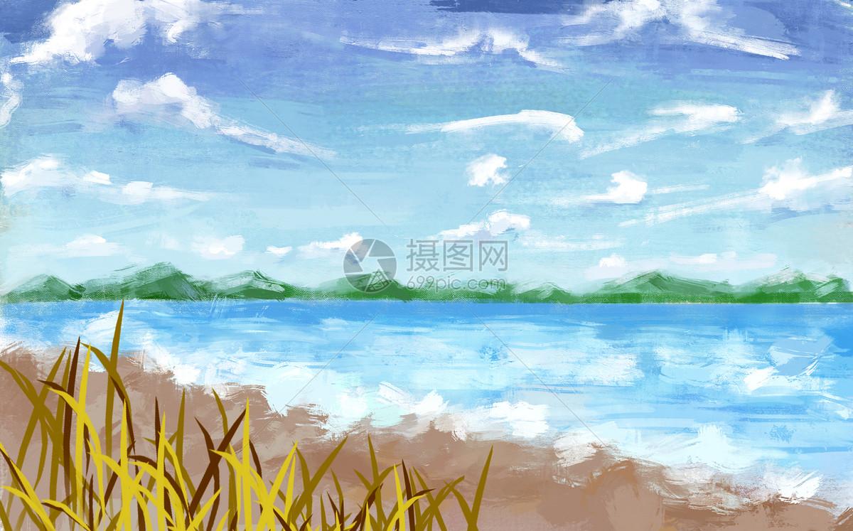 唯美图片 自然风景 大海蓝天插画psd