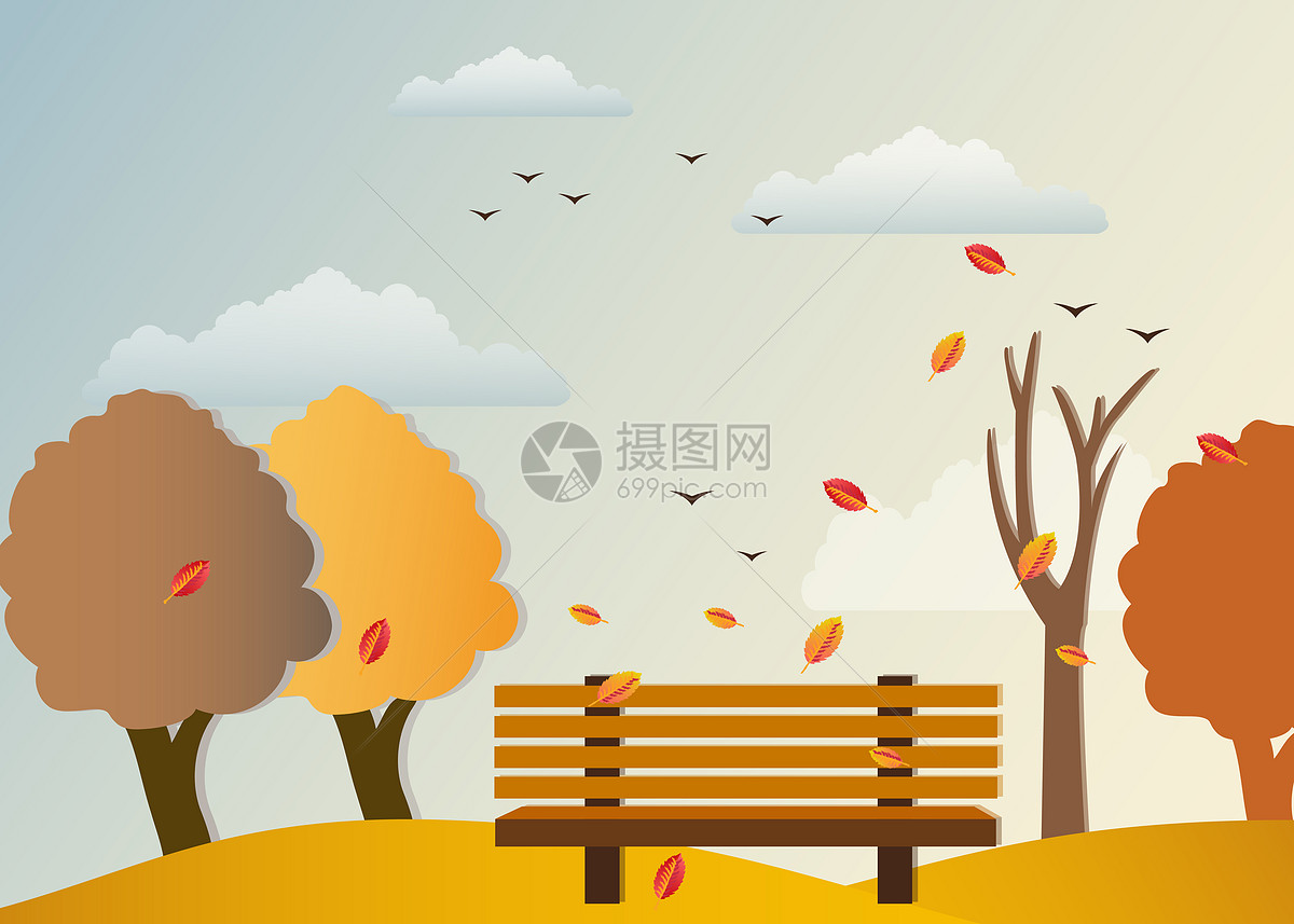 手绘秋天风景矢量背景