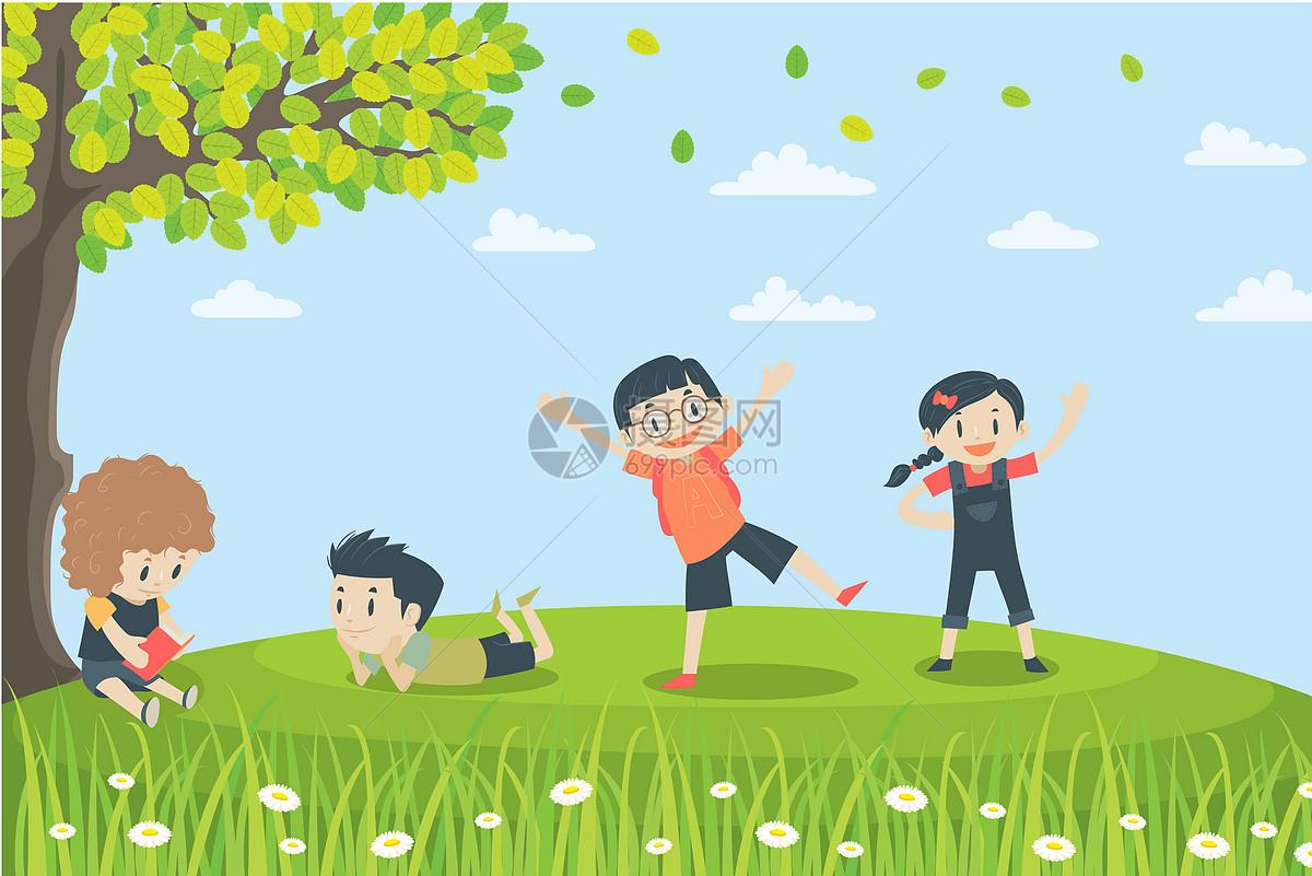 孩子们在树下看书玩耍
