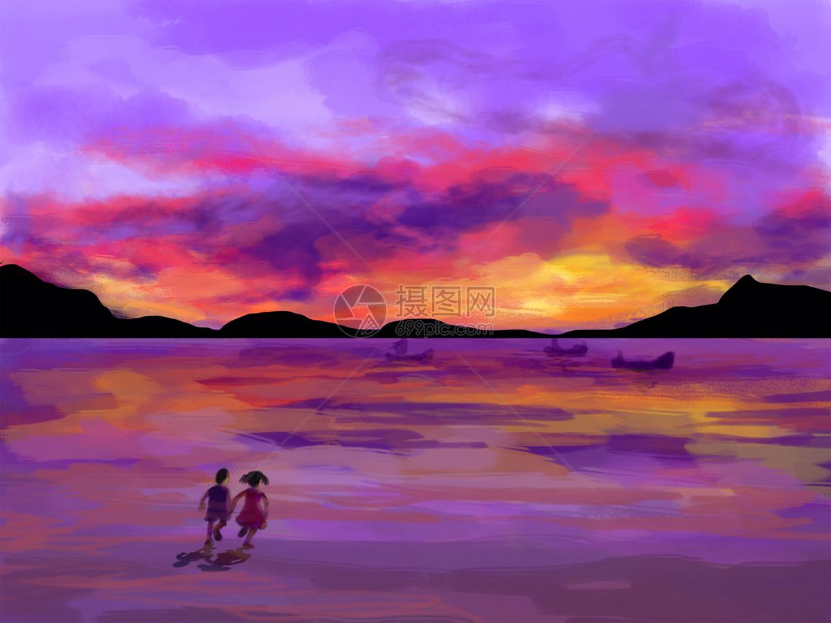 晚霞与大海手绘